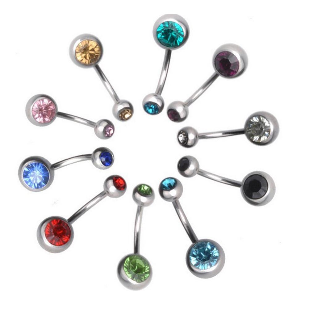 Разные цвета кольца для пупка пирсинг для пупка двойная кристальная головка из нержавеющей стали кубический цирконий камень ювелирные изд...