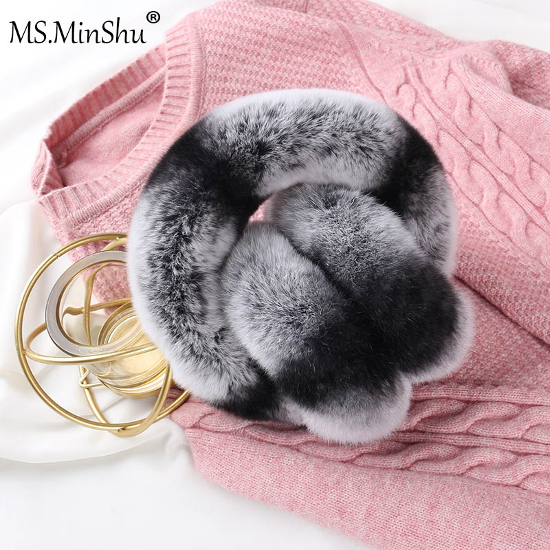 Ms.MinShu Real Rex Rabbit Fur Earmuffs Woman Rabbit Fur Earmuff  Christmas Gift Plush Fur Earflap Winter Warm Earmuffs Unisex