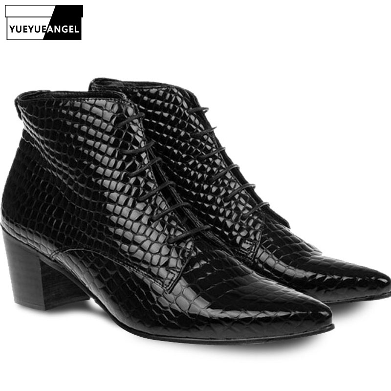 Brand Pointed Toe High Heel Genuine Leather Shoes Men Fashion Lace Up Dress Ankle Boots Black Snakeskin High Top Basic Boots