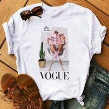 Maycaur Vogue Princess T Shirt Harajuku Ulzzang Print Female Tshirt Cartoon Funny Tops Tees Fashion Graphic Femme Tshirts