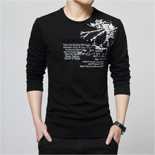 T-Shirt Men o Neck Cotton T Shirt Full Sleeve Tshirt Solid Color Printed T-shirts Long Autumn Shirts Size XXXL tops