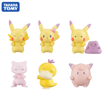 Takara Tomy 6PCS/set Pikachu Eevee Action Figure Pokemon Big Head Doll Sleep Elf Series Ball Children Toy Gifts недорого