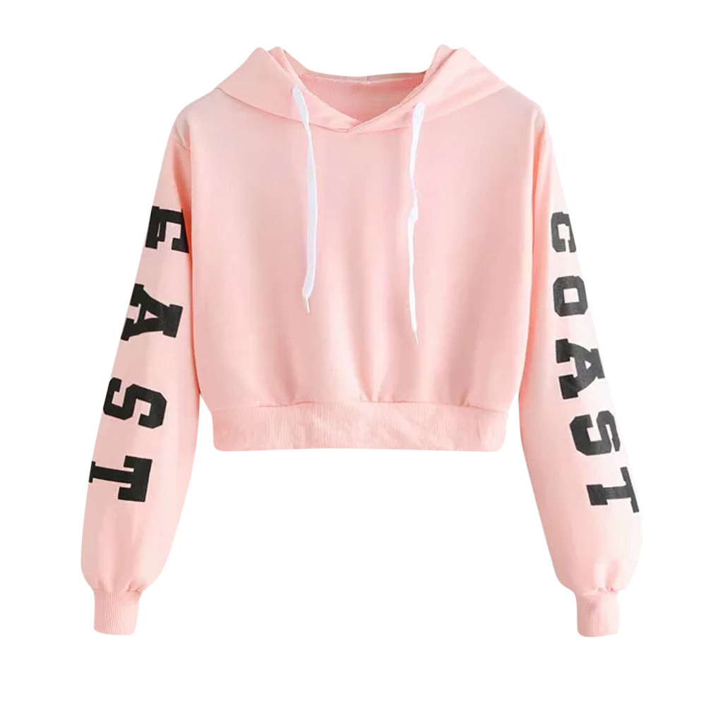 Jaycosin Women Casual Letters Hooded Long Sleeves Pocket Sweatshirt Solid Chic Attractive Cute Irregular Top Blouse