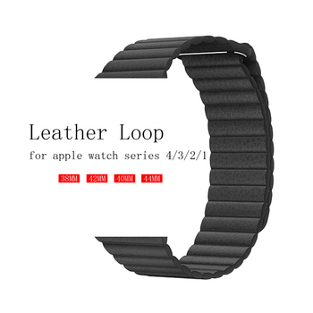 цена на Genuine leather loop for apple watch band 42mm 38mm 44mm 40mm strap Magnetic watchband for iwatch series 5/4/3/2/1 bracelet