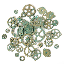 50g 100g Mixed Antique Green Steampunk Cogs & Gears Charms DIY Pendant Charms Jewelry Making Vintage Bracelets Craft Metal