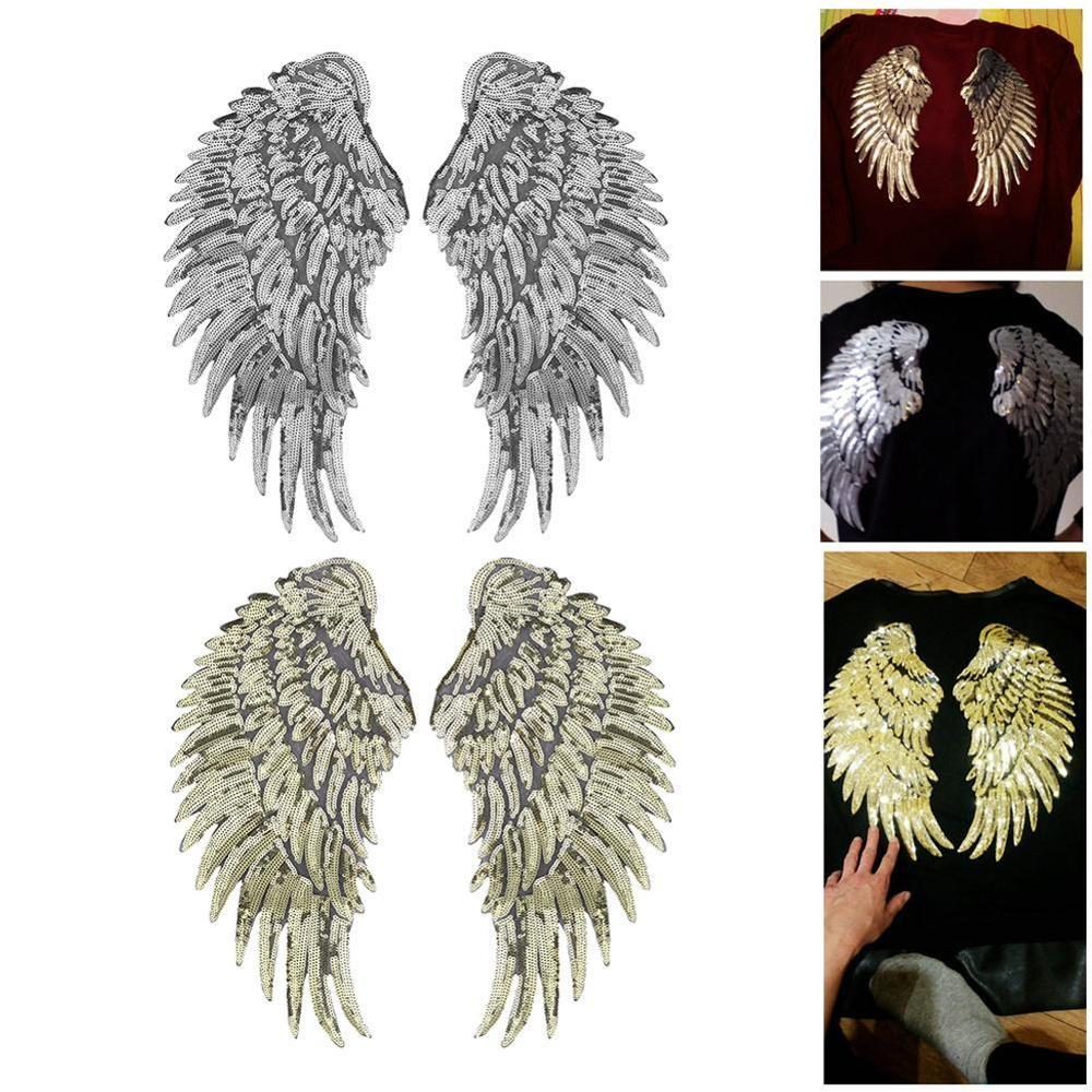 Angel Wing Feather Sequin Embroidered Fabric Large Patch Applique Stick Clothes Bag Decorate Accessories