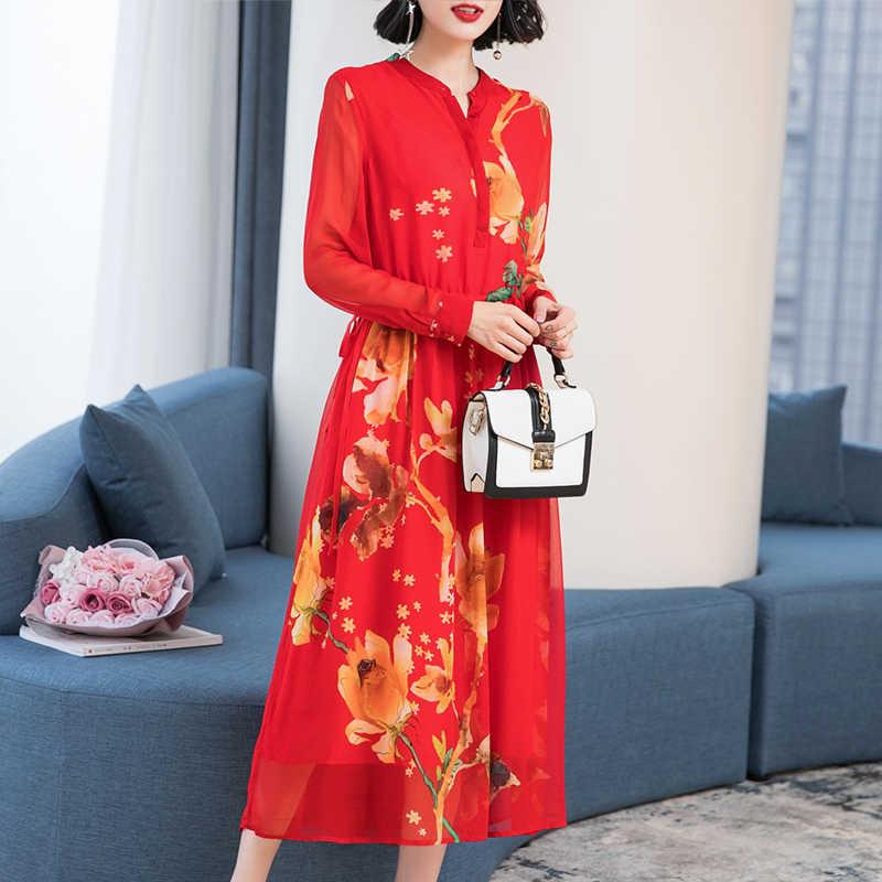 2020 frühling Sommer Kleid Frauen Lange Silk Party Kleid Elegante Blumen Strand Boho Kleider Party Rot Vestidos 19030 KJ3966