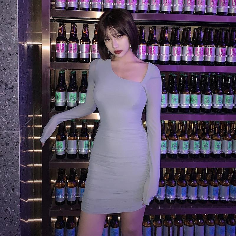 Muese Pleated Mesh Skirt-Trimmed Collar And Slim Fit Slimming Dress Waist Hugging Base Underwear Sheath Short Skirt