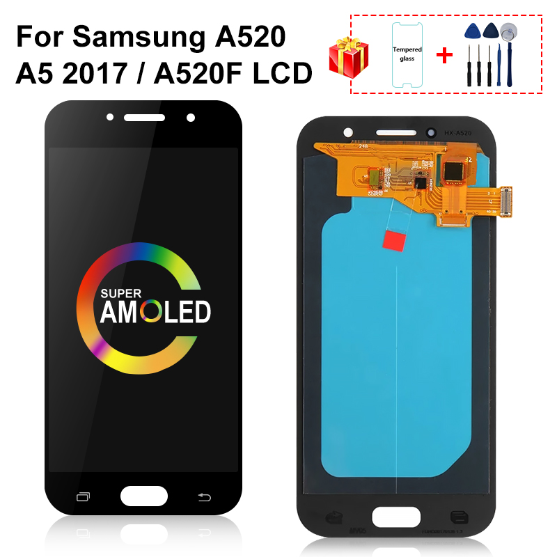 AMOLED LCD For <font><b>Samsung</b></font> Galaxy A5 2017 LCD A520 <font><b>A520F</b></font> SM-<font><b>A520F</b></font> <font><b>Display</b></font> Touch Screen Digitizer Assembly Parts For A520 LCD image