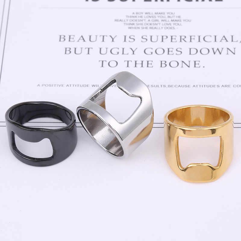 สีดำสแตนเลสแหวนผู้ชายแหวน-รูปร่างที่เปิดขวดเบียร์แหวนเครื่องมือ Cool Gothic แหวนเงิน man