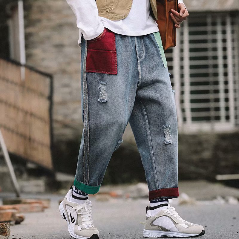 2020 Long Loose New Fashion Patchwork Casual Men's Jeans Male Denim Trousers
