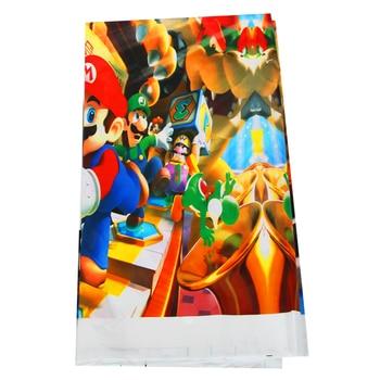 цена 1pcs/lot Super Mario Bros disposable tablecloths Mario Bros birthday party decorations Super Mario Bros plastic tablecloths онлайн в 2017 году