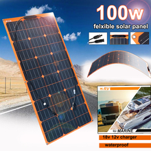 цена на Flexible Solar Panel 100w 18v 12v Solar Charger Monocrystalline for 1000w home kit system Car RV Boat Battery Charger Waterproof