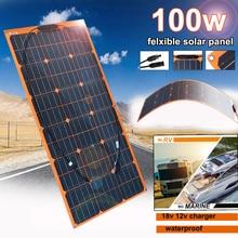 Flexible Solar Panel 100w 18v 12v Solar Charger Monocrystalline for 1000w home kit system Car RV Boat Battery Charger Waterproof 100w 18v monocrystalline flexible solar panel for caravan yacht home bicycle
