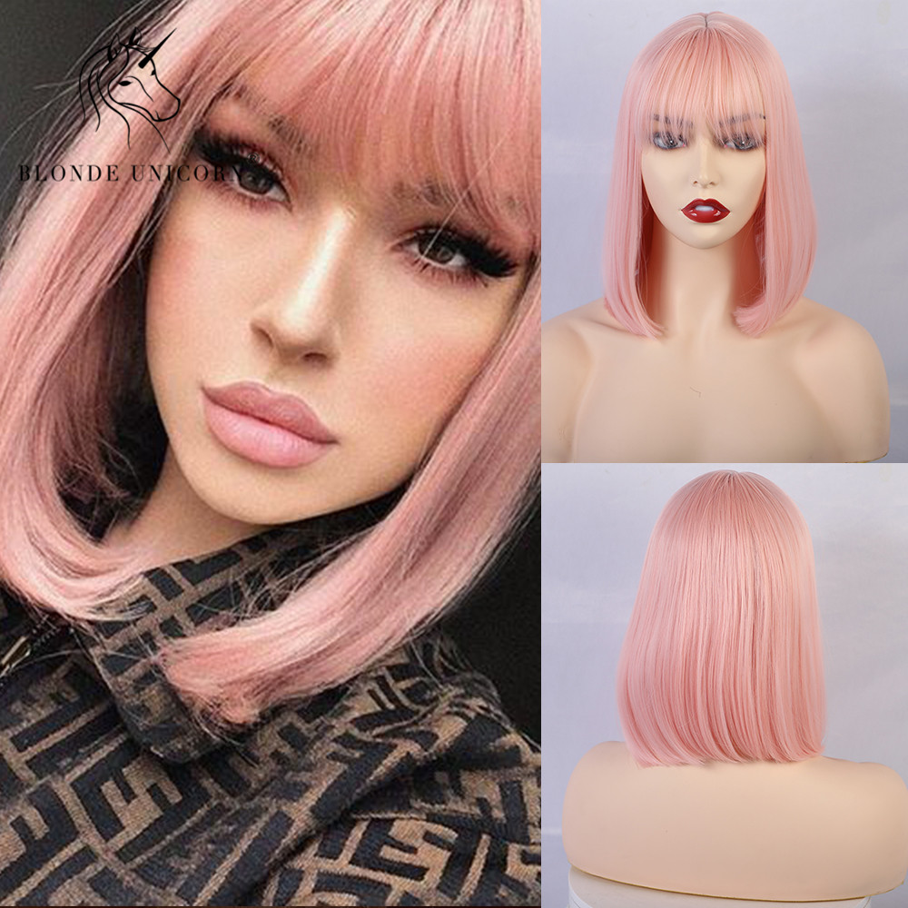 Blonde Unicorn Synthetic Straight Short Bob Wigs With Bangs Golden White Purple Pink Green Brown Cosplay Wig For Women Female