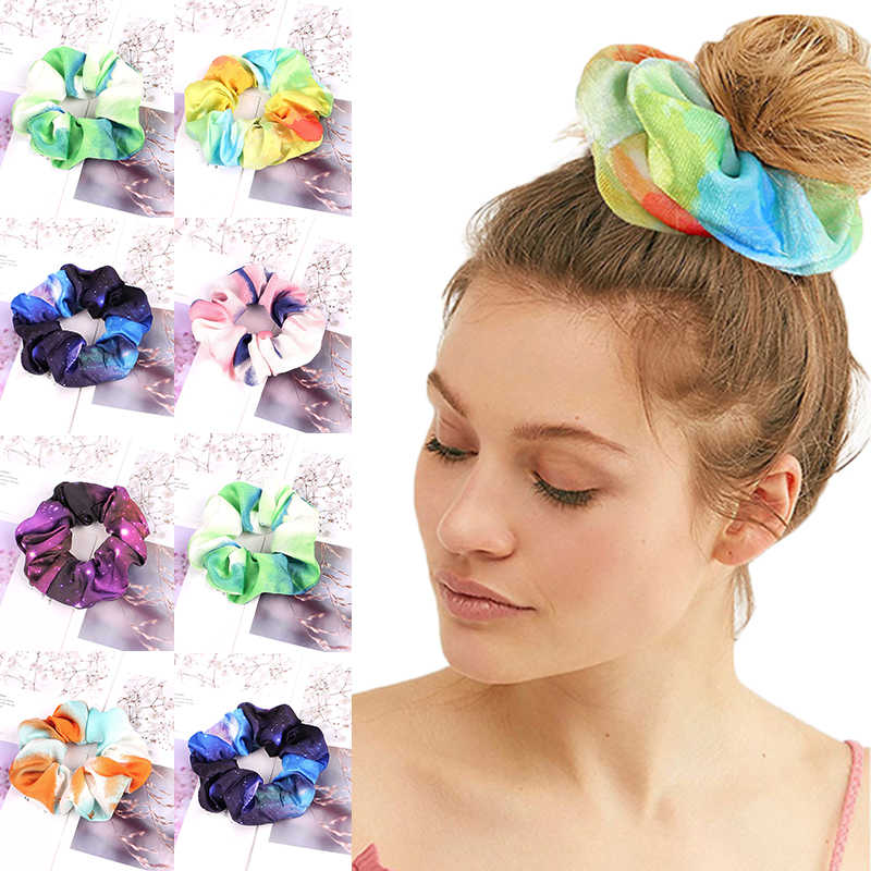 2019 New Sky Tie-dye Print Scrunchie Elastic Hair Bands For Women Girls Ponytail Holders headbands Hair Ties Accessories