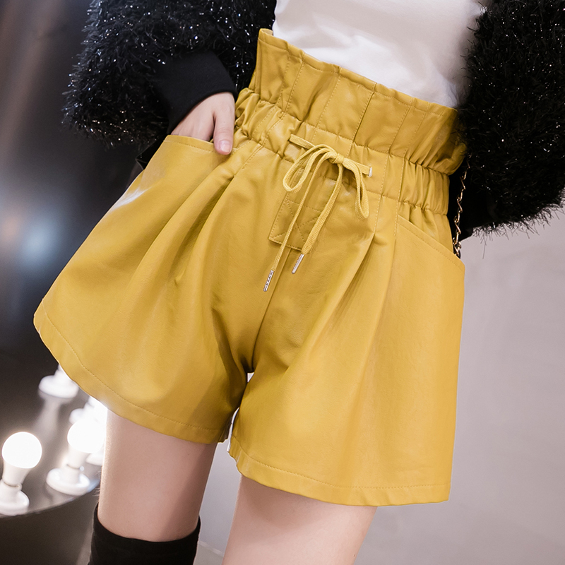 2019 Autumn Winter Women PU Leather Shorts Fashion Lace-Up High Waist Wide Leg Shorts Female Casual Loose Boots Shorts