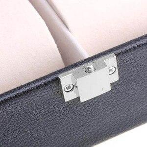 Image 4 - Caja de almacenamiento de reloj de cuero PU de 6 rejillas, gran oferta, soporte de reloj de pulsera rectangular, estuche de exposición de joyería para regalos LL @ 17