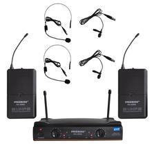 FREEBOSS KU 22H2 2 Bodypack Transmitter 2 Lapel 2 Headset Microphone Dj Karaoke Church School UHF Wireless Microhpone
