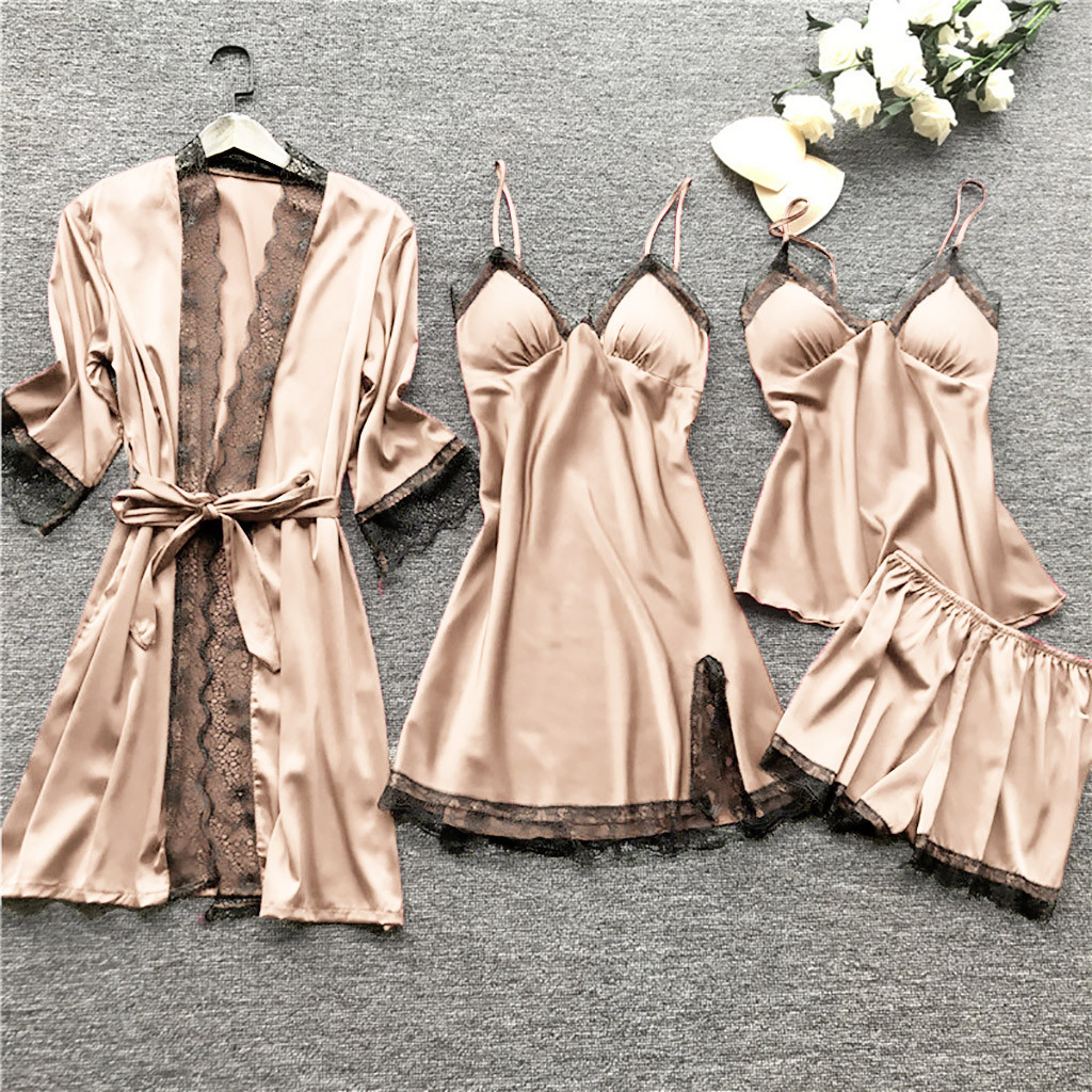 Lingerie For Women Sleepwear Silk Lace Robe Stain Dress Babydoll Robe Soft Ladies Sleepwear Nightdress Female Nightgown