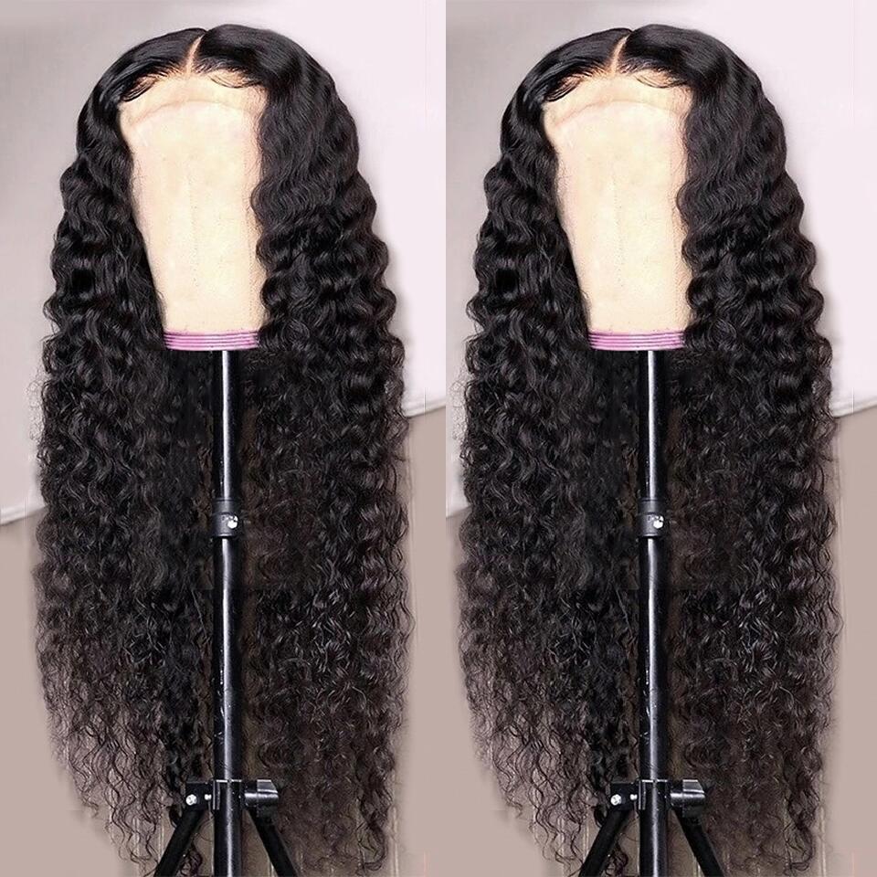 Парики Abijale 13x4 из человеческих волос с глубокой волной, на сетке спереди, парики длиной 28-40 дюймов, парики без повреждений из человеческих во...