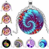 3 colores giratorios Mandala flor hueso vidrio convexo colgante redondo moda señoras collar moda chica suéter cadena joyería