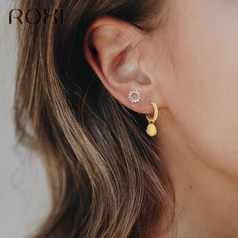 ROXI Fashion Brincos Sea Shell Conch Earrings 925 Sterling Silver Mini CZ Shell  Pendant Small Stud Earrings For Women Jewelry
