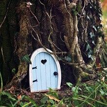 Miniature Fairy Sleeping DIY Wooden Door Craft Gnome Door Kit with Flowe Micro Gardening Simulation Cute Creative Home Decor