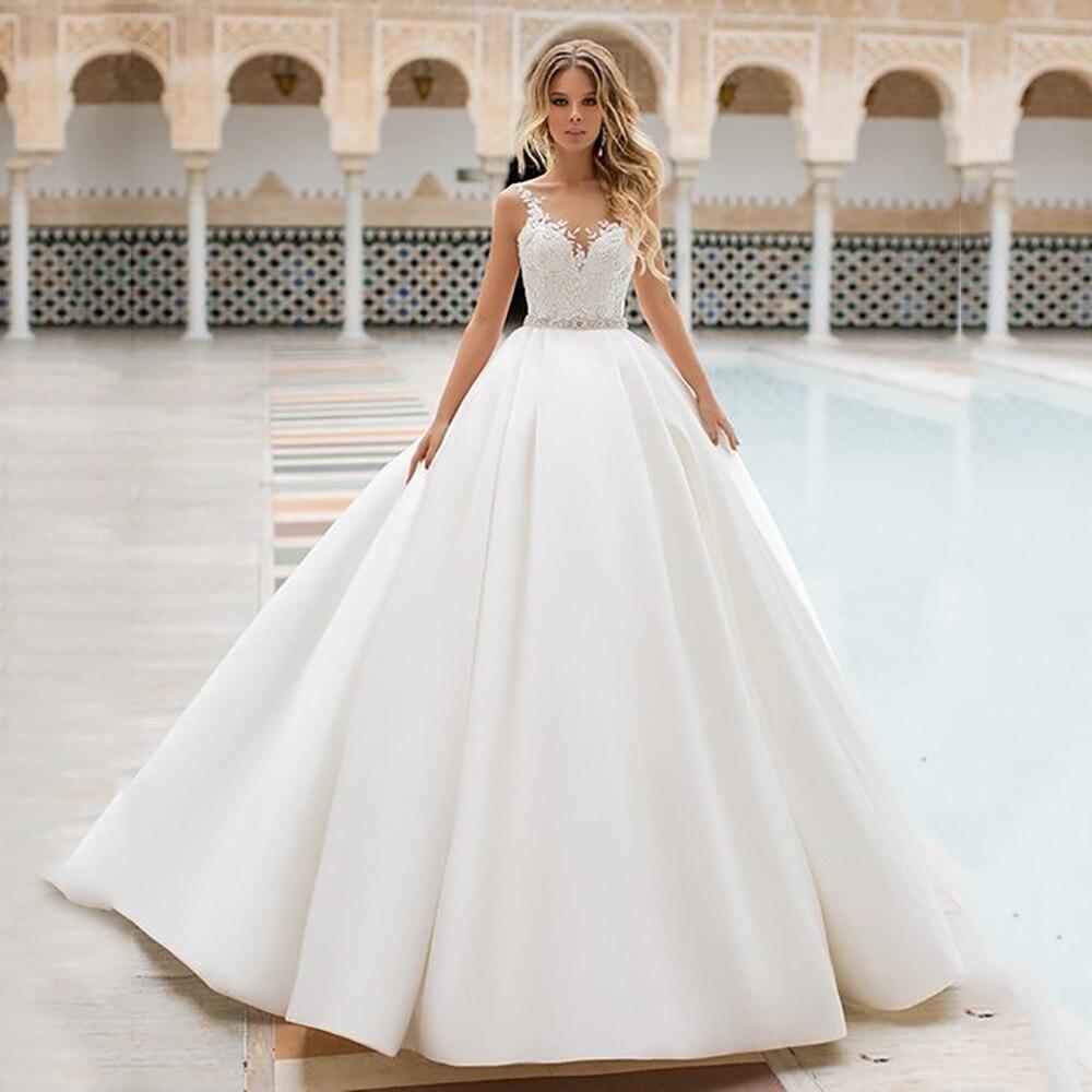 Sexy A Line Wedding Dress Lace Appliques Illusion Satin Bridal Dress bohemian...