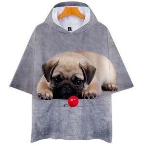 Bluzy z kapturem t shirt mężczyźni kobiety 3D śliczne mops z nadrukiem z psem codzienna bluza z kapturem t-shirt gorąca sprzedaż z kapturem krótki rękaw tshirt miękki wierzch Plus rozmiar 4XL