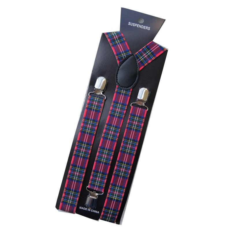 Vintage Plaid Striped 3 Clips Adjust Elastic Braces Pants Accessories 2.5cm Wide Women Men Suspenders Pants