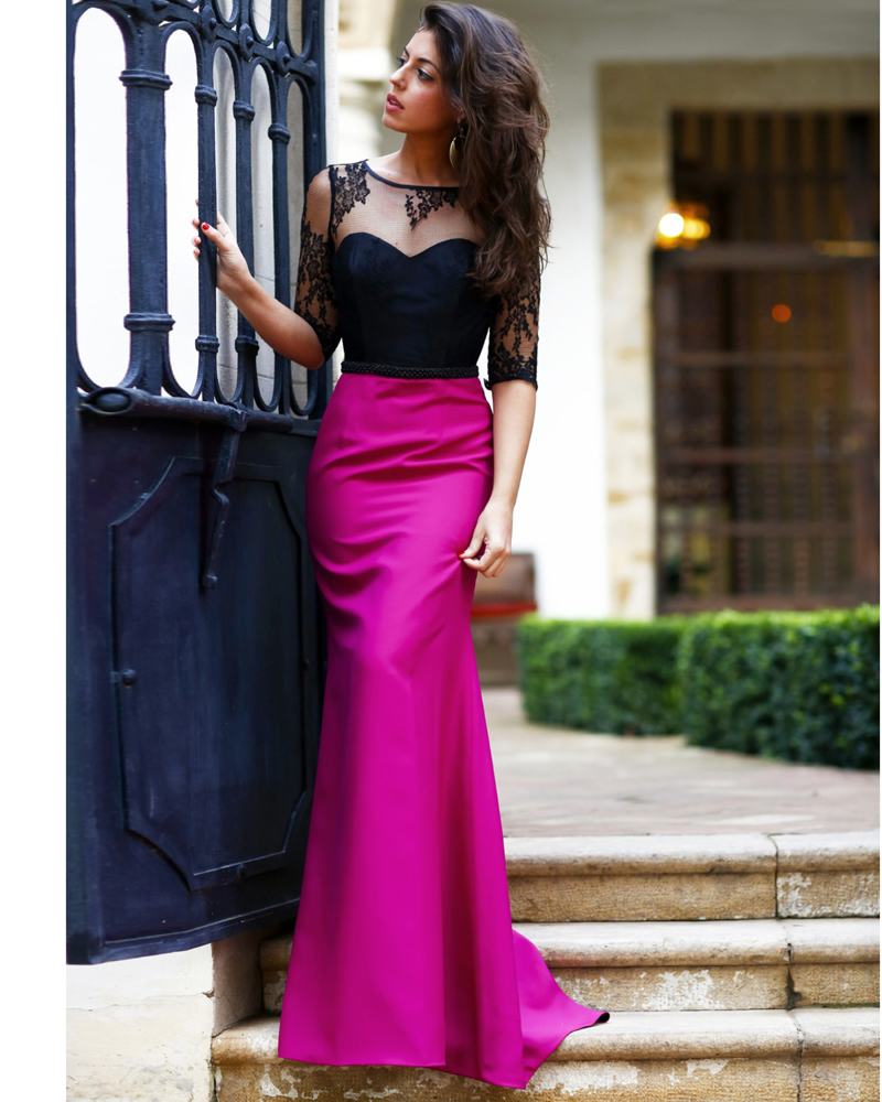 Vestido De Festa 2018 Sexy Long Straight Satin Women Evening With Sleeves Party Gown Cheap Open Back Mother Of The Bride Dresses