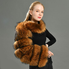 Women Real Raccoon Fur Sleeve Ladies Fashion Natural Fur Coat One Sleeve