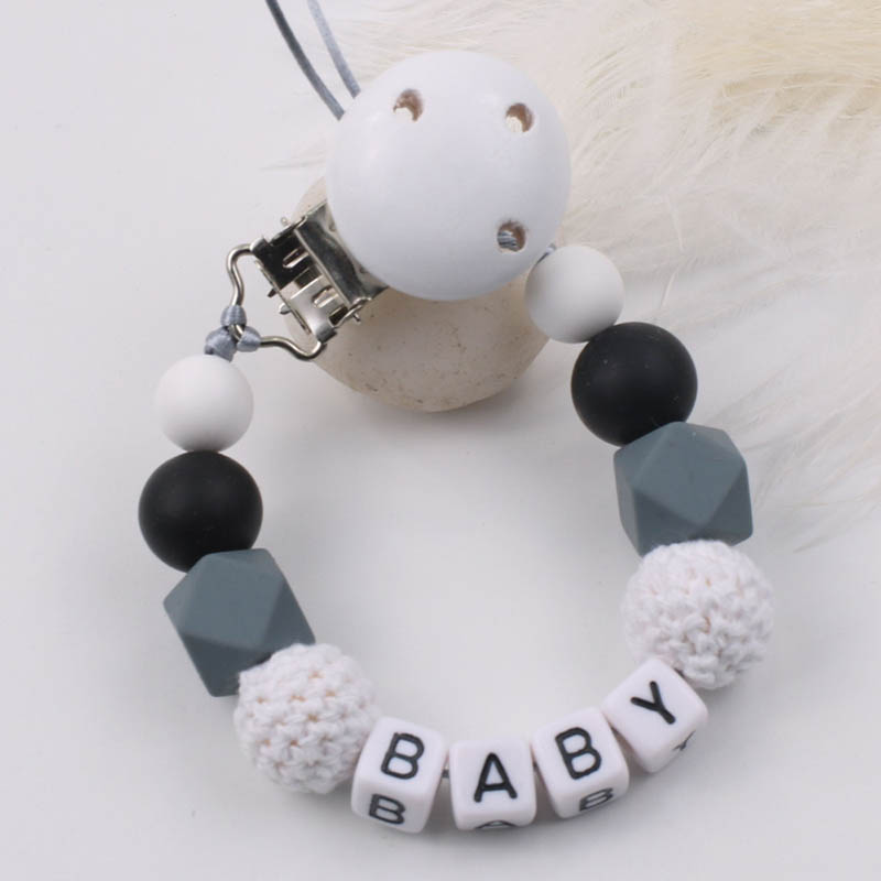 Personalized Name Silicone Baby Pacifier Clips DIY Pacifier Chain For Baby Teething Soother Chew Toy Dummy Clip Holder