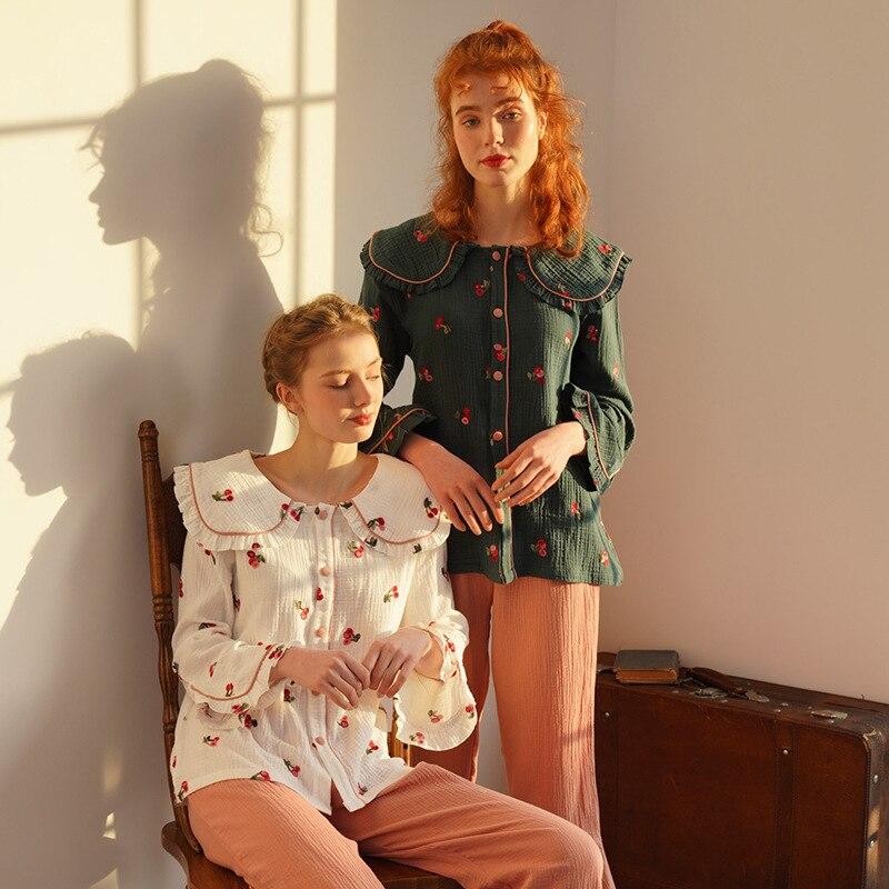 Pajamas Women Spring And Autumn Cotton Embroidery Ladies Pajamas Set Fashion Casual Lapel Lace Pajamas Homewear 2020