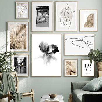 Nordic plakat w stylu Vintage liść bananowca roślin pocałunek abstrakcyjna linia ścienne drukowany obraz na płótnie obrazy dekoracje ścienne dla wystrój salonu tanie i dobre opinie 7-Space CN (pochodzenie) Płótno wydruki Pojedyncze Wodoodporny tusz Krajobraz Unframed Nowoczesne A-710-M Malowanie natryskowe