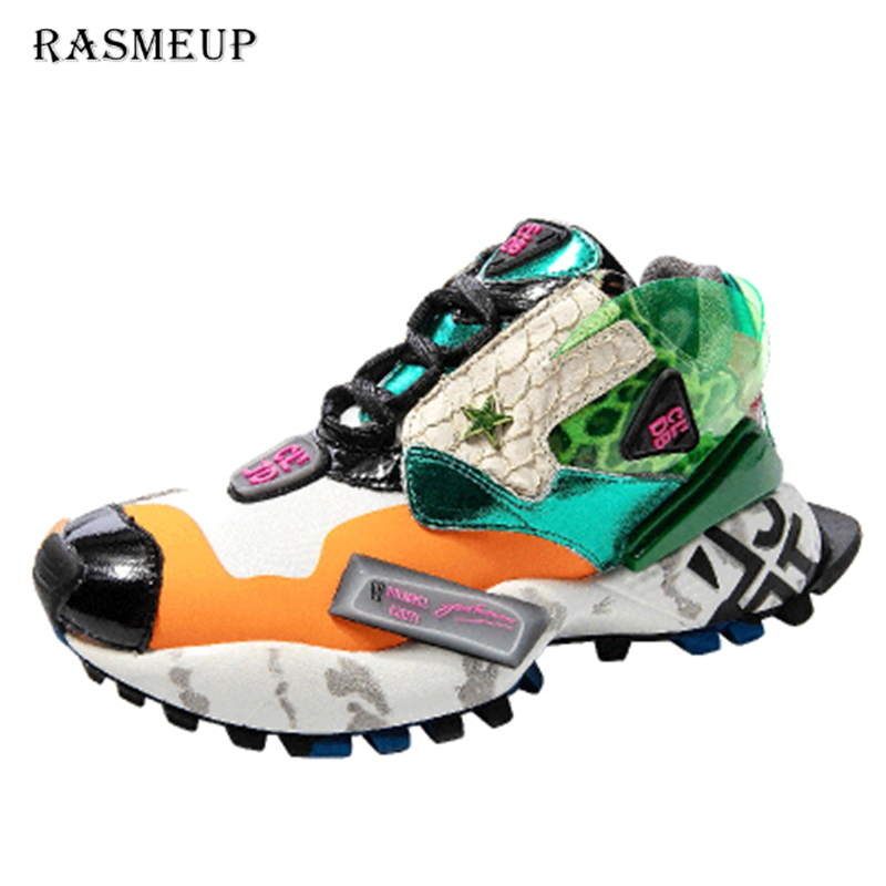 RASMEUP Street Style Women's Chunky Sneakers 2019 Fashion Brand Women Flat Platform Shoe Breathable Women Trainers Footwear