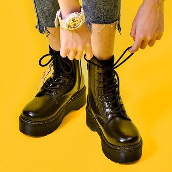 Botas de plataforma Martens, zapatos para Mujer, novedad de 2019, Botines de Cuero negros, zapatos Punk para Mujer, botas gruesas para motocicleta, botas para Mujer Dr