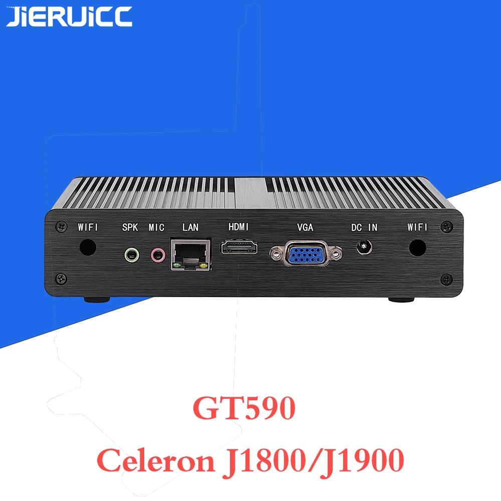 Fanless Mini PC J1900 Quad-core 2.42GHz Intel HD Graphics 1080P HTPC / Office Working Windows Computer Linux Micro PC