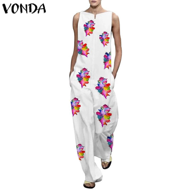 VONDA Vintage Rompers Womens Jumpsuits 2020 Ladies Casual Floral Printed Long Playsuits Bohemian Overalls S-5XL Women's Trousers 5