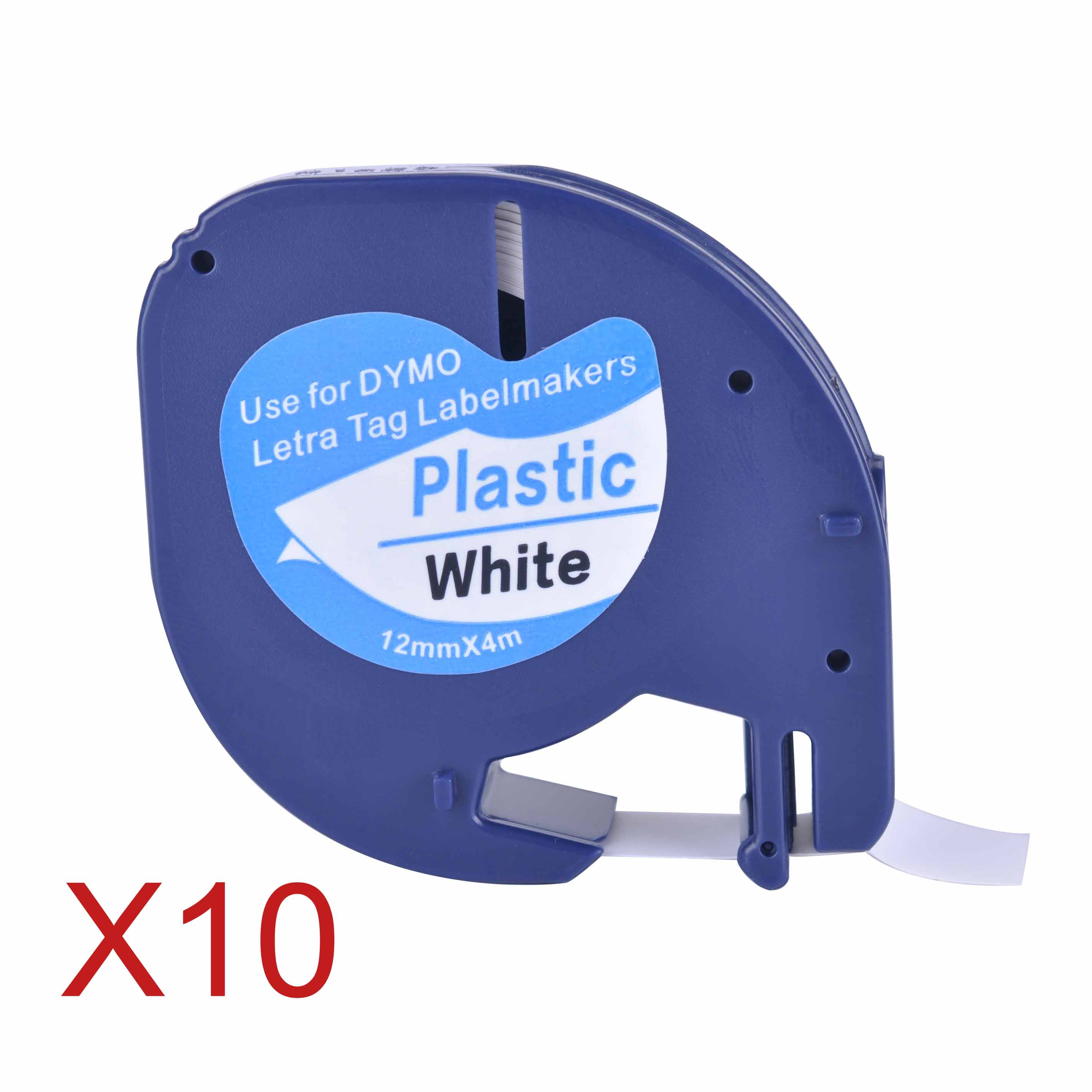 10 Compatible Dymo LetraTag 91201 Black on White  12mm x 4m  Plastic Label Tapes 91201 91221 59422 S0721660