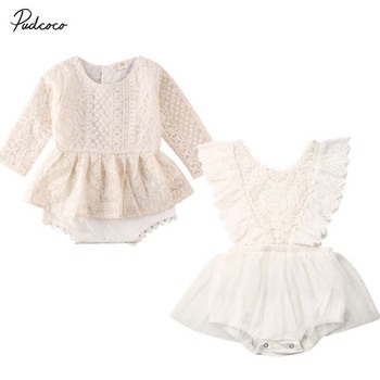 2020 Zomer Pasgeboren Baby Meisjes Kleding Prinses Kant Wit Solid Flower Hollow Tulle Bodysuit Tutu Dress Outfit Verjaardagsfeestje