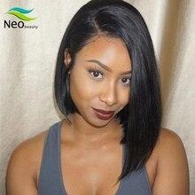 NeoBeauty боб парик кружева перед парики человеческих волос 13*4 боб парик короткие прямые кружева фронтальная парики бразильские волосы 100% человеческих волос женщина