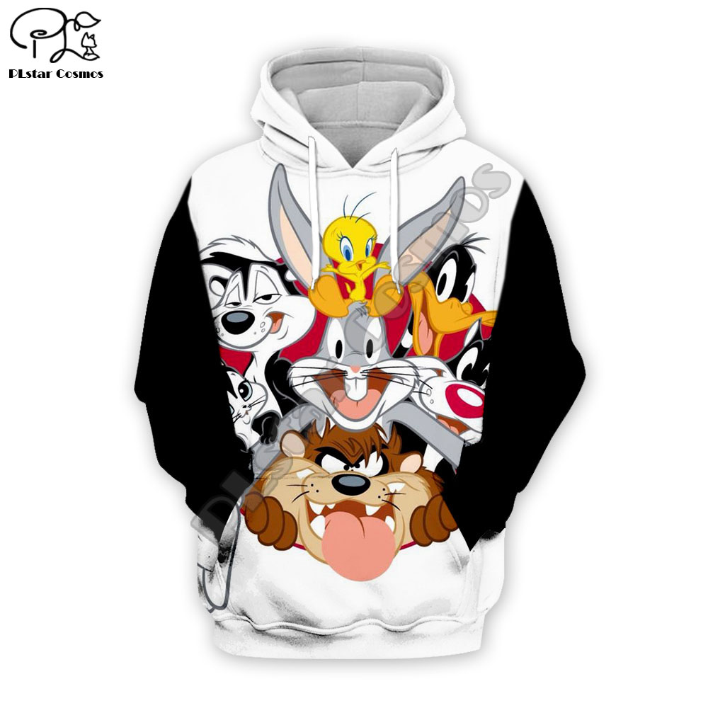 PLstar Cosmos Anime Bugs Bunny Colorful Cartoon Tracksuit Newfashion 3DPrint Hoodie/Sweatshirt/Jacket/Men Women Funny S10