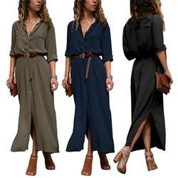 Women Autumn Long Sleeve Single-breasted Side Split Shirt Large Swing Maxi Dress