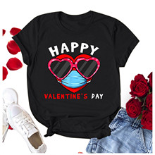 Short-Sleeve Casual Blouses Top Graphic Valentine's-Day-Shirts Happy Harajuku Loose Round-Neck