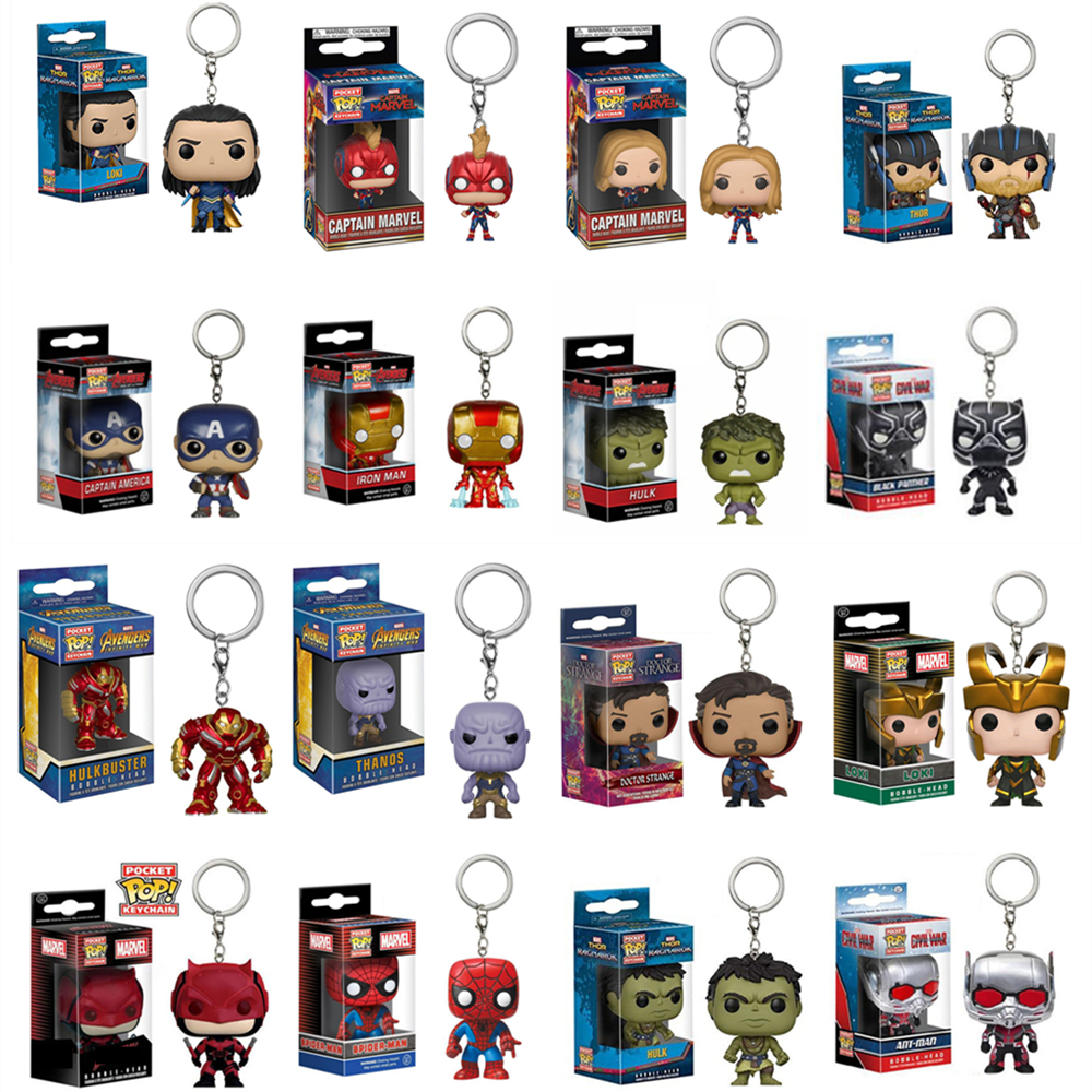 FUNKO POP New Pocket Pop Keychain Official Marvel Avengers Characters Action Figure Collectible Model Christmas Toys