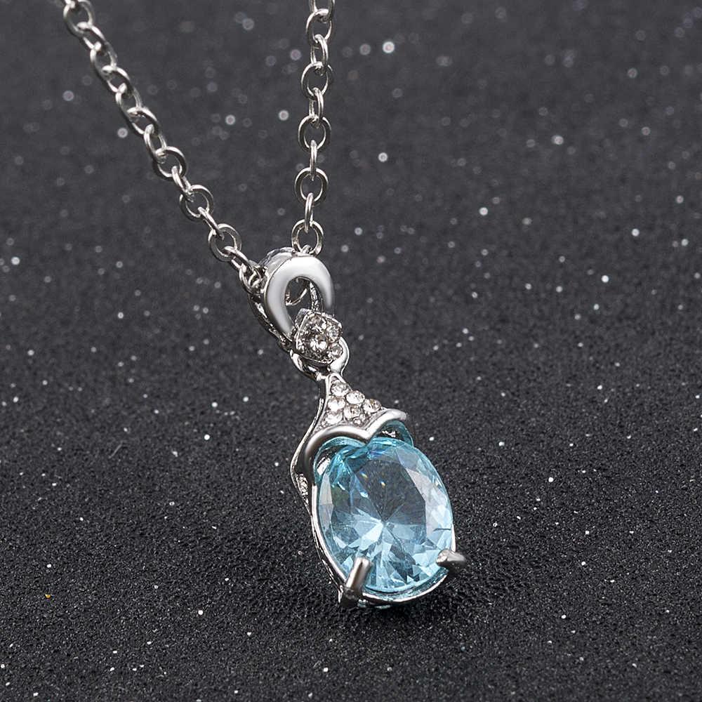 ทะเลสีฟ้าประดิษฐ์หินจี้เงิน Charm สร้อยคอคริสตัลยาวสำหรับหญิงสาวสร้อยคอเครื่องประดับครบรอบของขวัญ