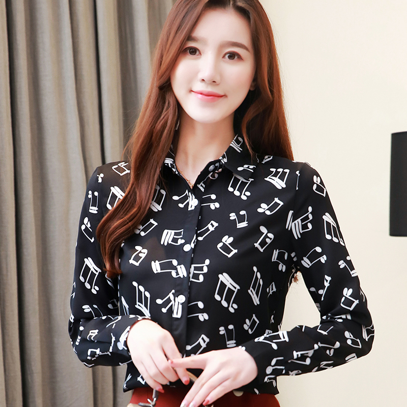 Music Note Print Tops And Blouses Korean Style Women Long Sleeve Casual Shirt Spring Autumn Womens Clothes S-XXL