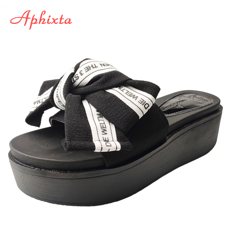 Aphixta Flowers  Platform Slippers Women Beach  Wedge Heel Shoes Clog Riband Butterfly-knot Sandals Flip Flop Slides Femme